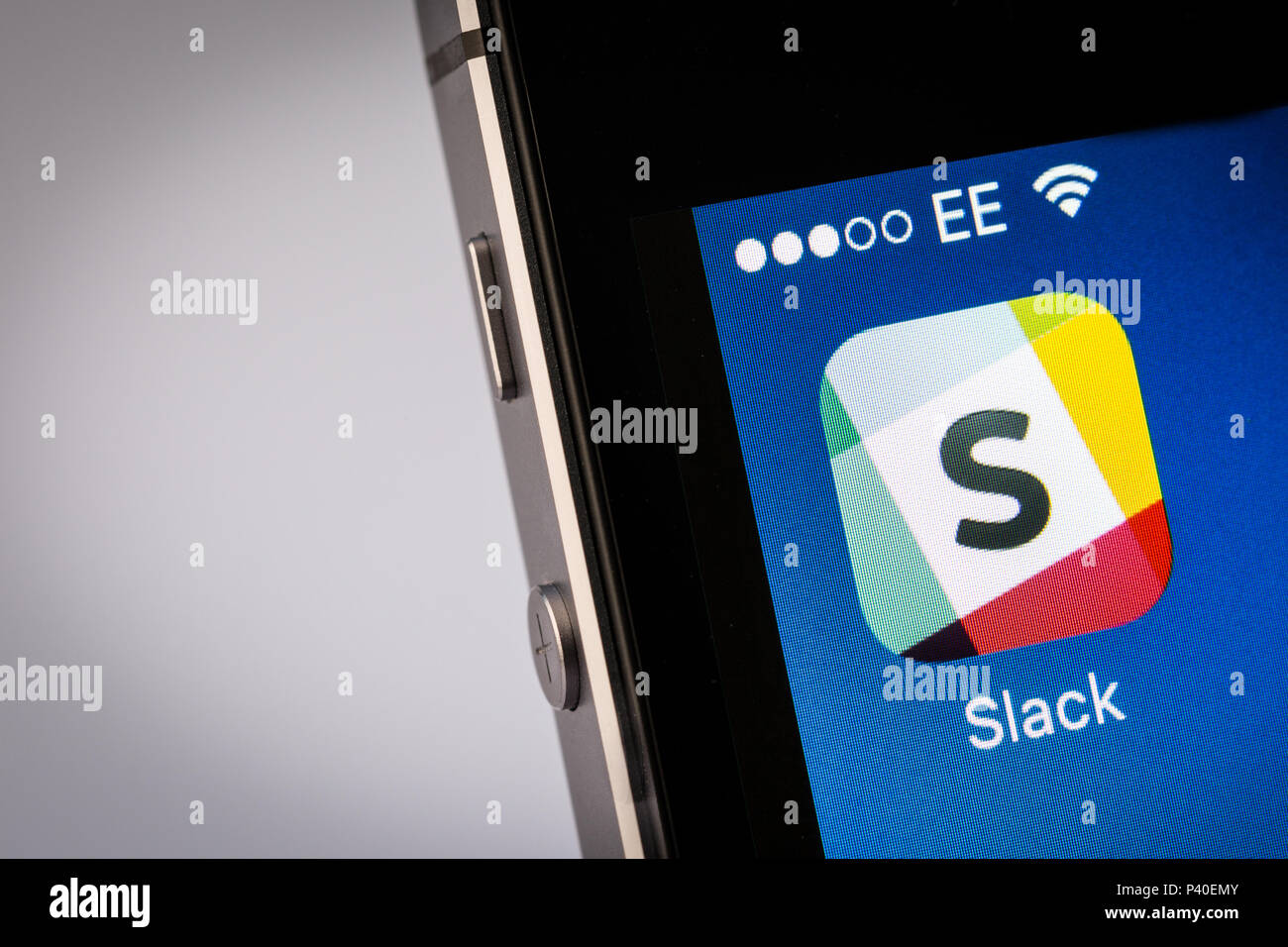 Slack App on an iPhone smartphone - Stock Image