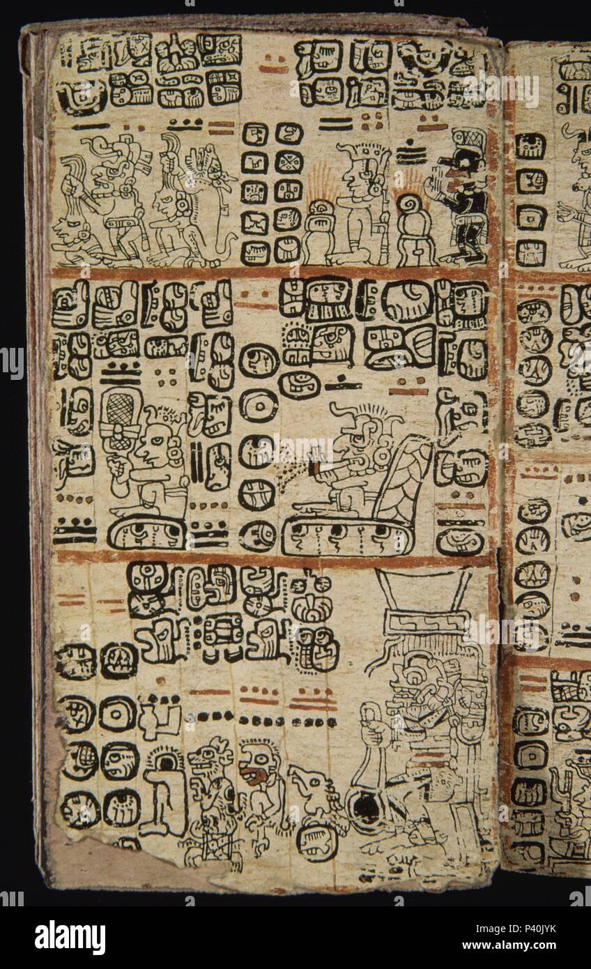 FACSIMIL-PAGINA DE CODICE TRO-CORTESIANO-CULT MAYA-HOMBRES Y DIOSES - S XIII AL XV. Location: MUSEO DE AMERICA-COLECCION, MADRID, SPAIN. - Stock Image
