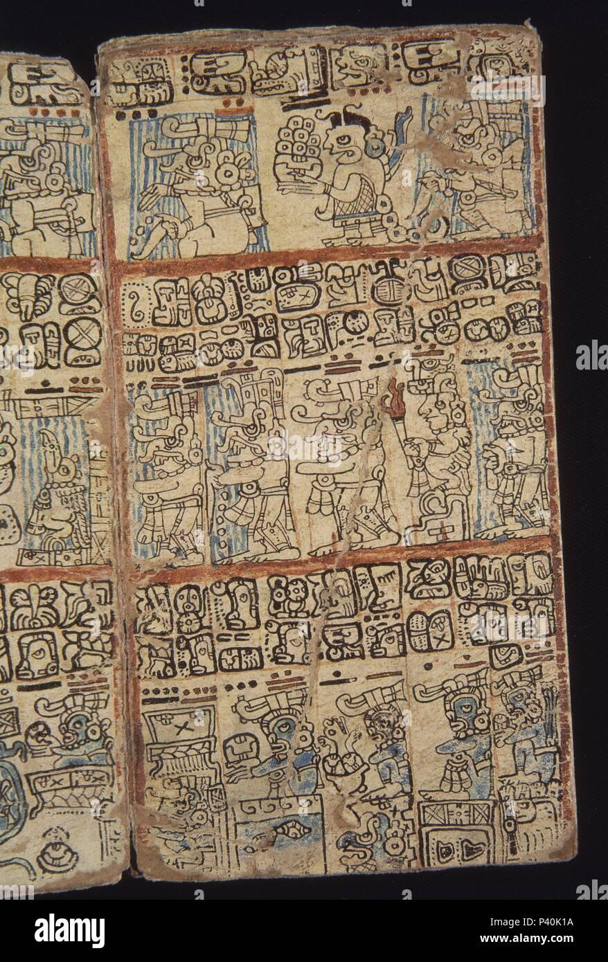 FACSIMIL-PAGINA DEL CODICE TRO-CORTESIANO-CULT MAYA-DIOSES Y HOMBRES - S XIII AL XV. Location: MUSEO DE AMERICA-COLECCION, MADRID, SPAIN. - Stock Image