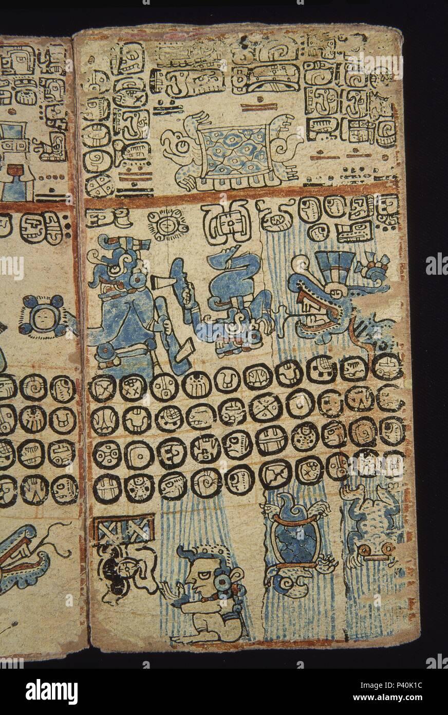 FACSIMIL-PAGINA DE CODICE TRO-CORTESIANO-CULTURA MAYA-DIOSES Y HOMBRES - S XIII AL XV. Location: MUSEO DE AMERICA-COLECCION, MADRID, SPAIN. - Stock Image