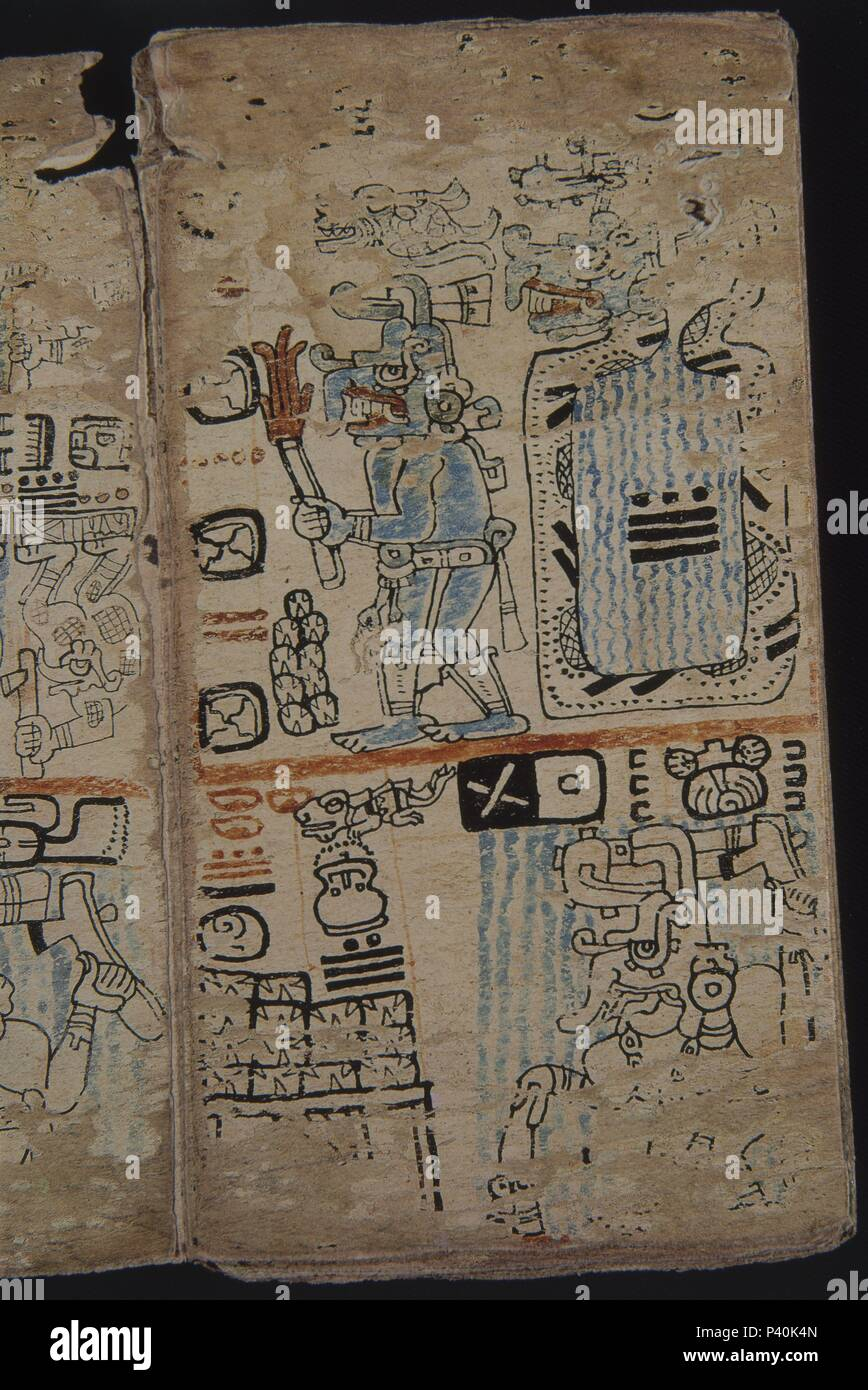 FACSIMIL-PAGINA DEL CODICE TRO-CORTESIANO-CULTURA MAYA-DIOSES Y HOMBRES - S XIII AL XV. Location: MUSEO DE AMERICA-COLECCION, MADRID, SPAIN. - Stock Image