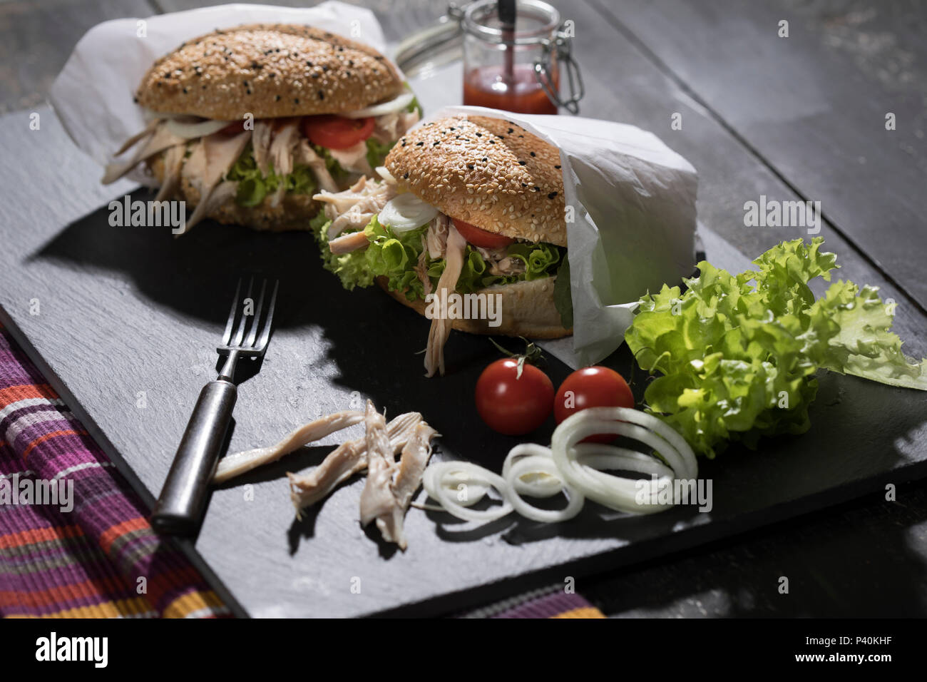 Pulled Chicken-Burger Stock Photo