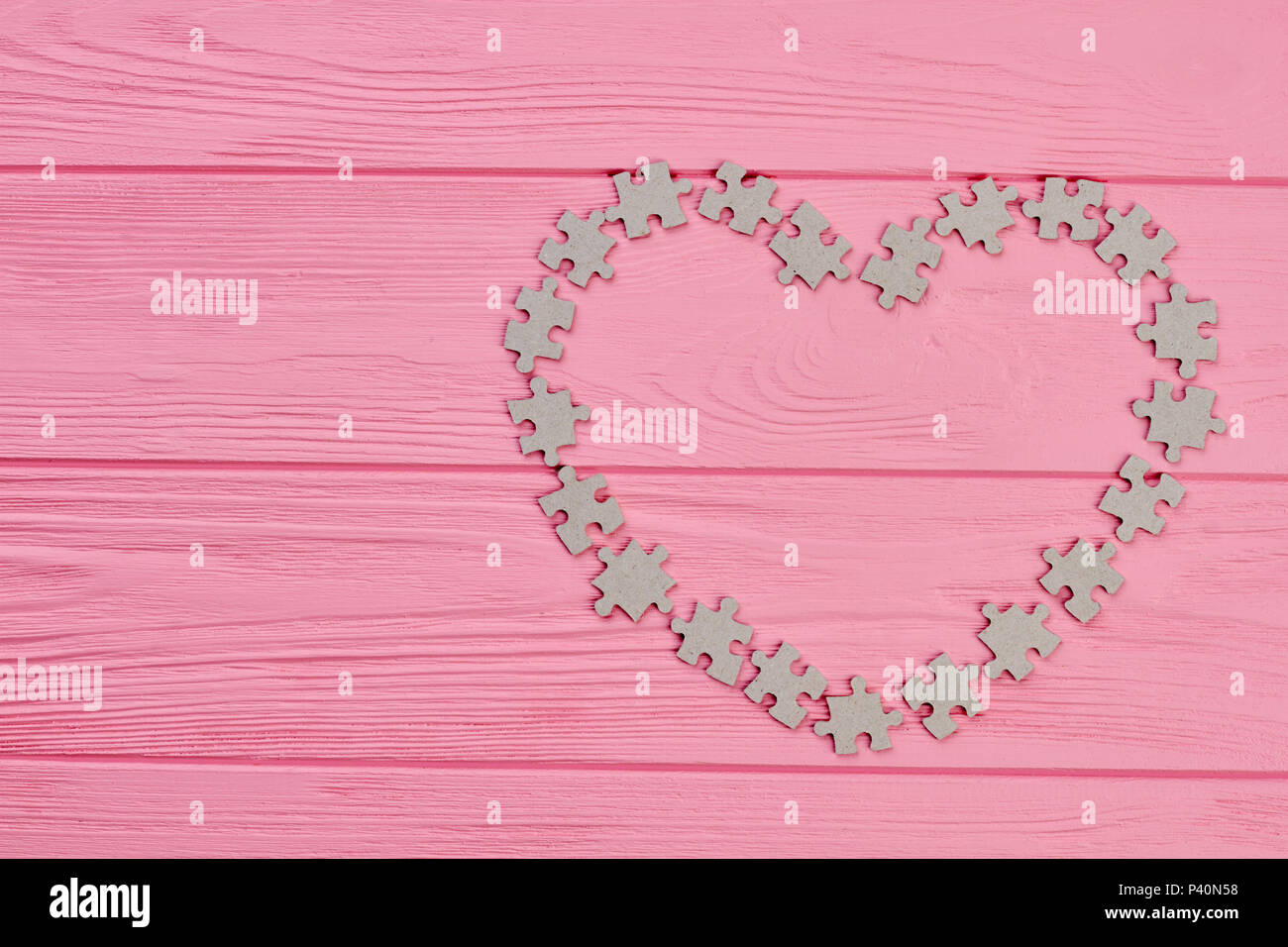 Valentines Day Frame From Cardboard Puzzles Shape Of Heart From