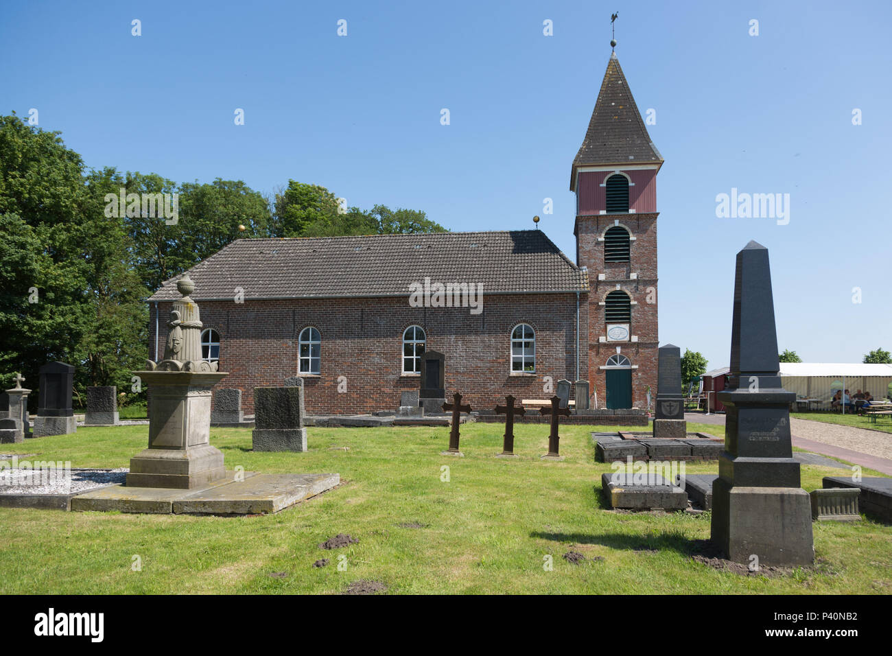 Church Landschaftspolder, Bunde, Rheiderland, Ostfriesland, Germany. - Stock Image