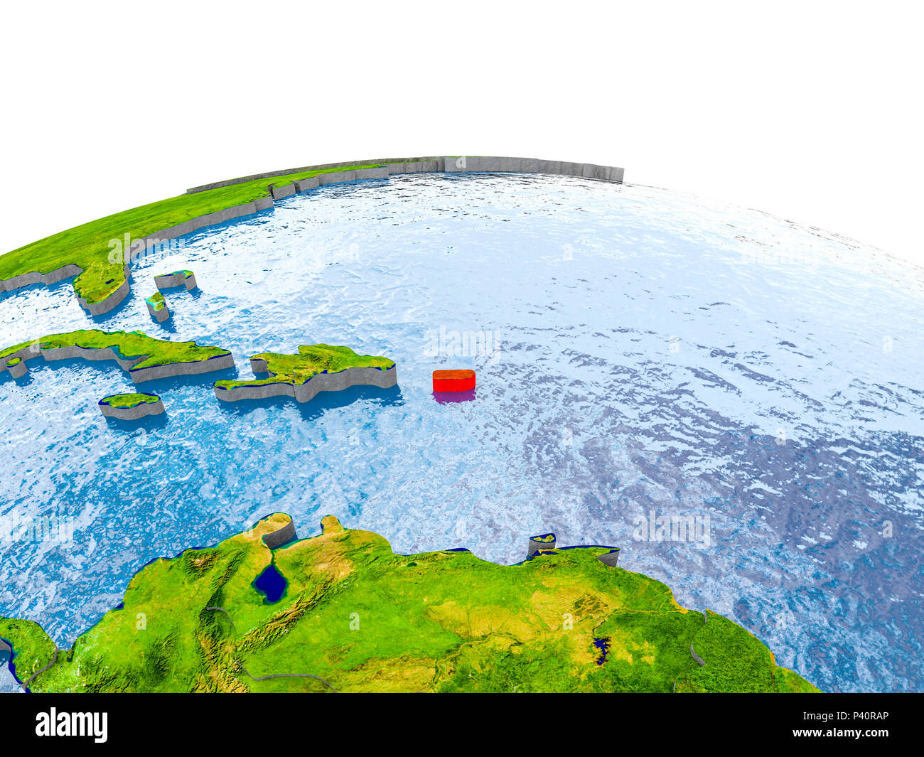 Puerto Rico Highlighted In Red On Globe With Realistic Land Surface