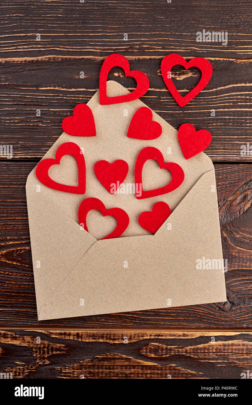 Opened Envelope And Red Paper Hearts Envelope From Craft Paper And