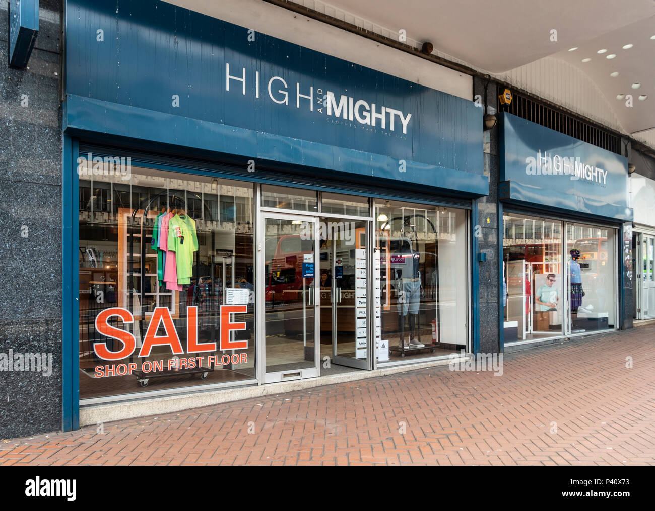 Shop front and main enrance to the High and Mighty shop in Smallbrook Queensway, Birmingham, England, UK Stock Photo