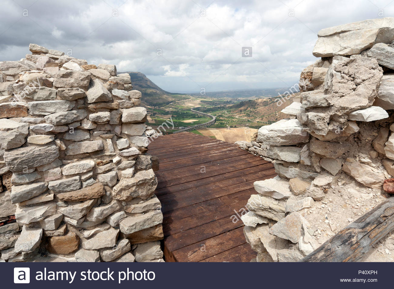 Palermo - Mazara highway from stonewalls of castle in Segesta, Italy - Stock Image