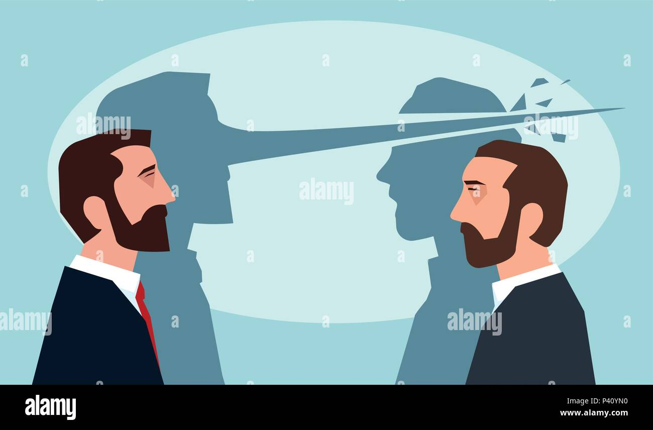 Psychology of lies concept. Man with long nose lying another guy - Stock Vector