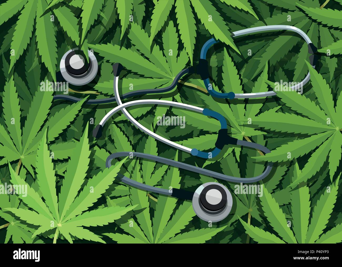 Marijuana medical use and health care concept. Traditional medicine versus other options with cannabis - Stock Image