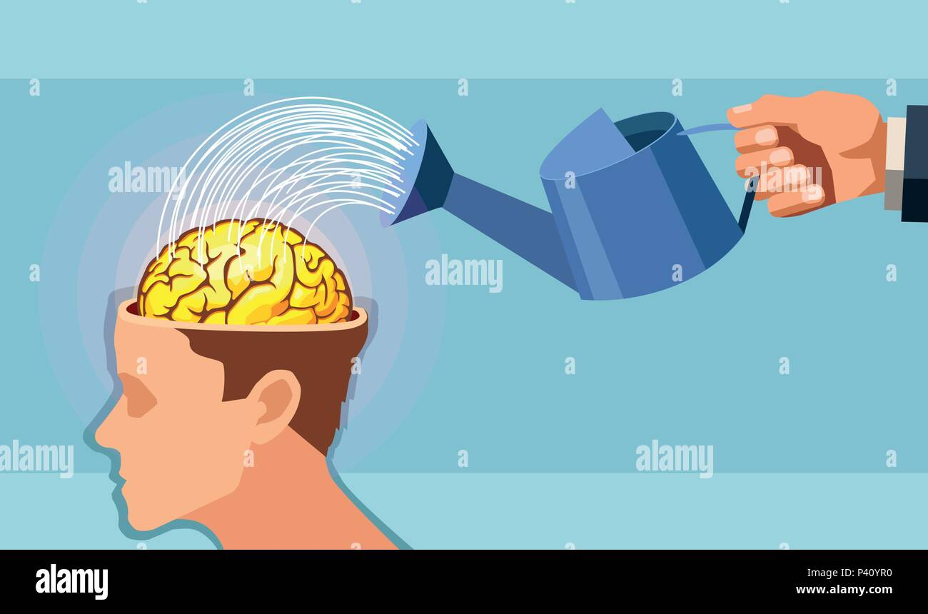 Vector of a man hand watering a brain. - Stock Image