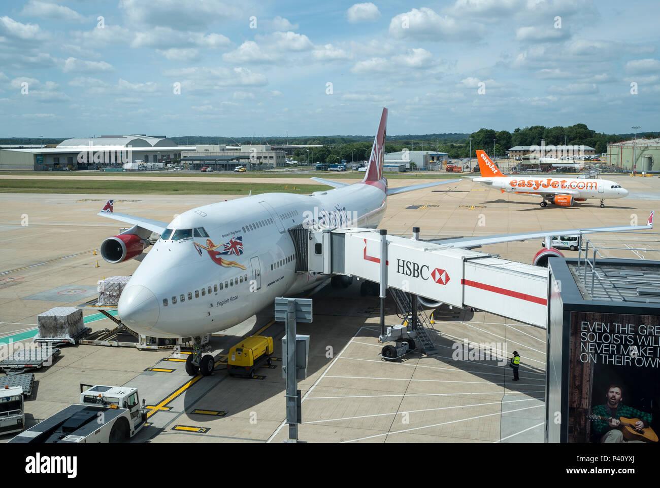 A Virgin Atlantic Boeing 747-400 aircraft being prepared on