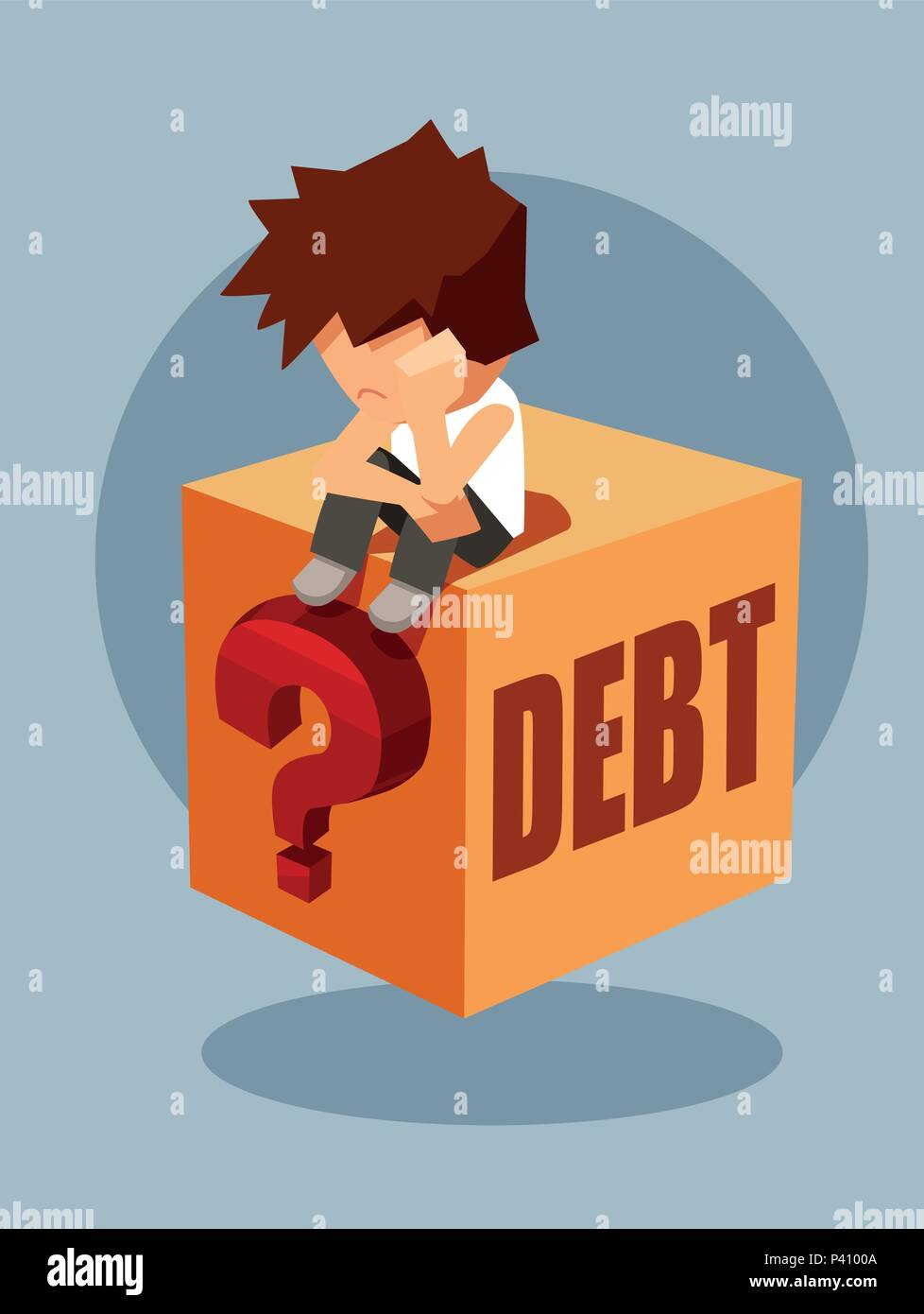 Debt concept. Vector of a sad man sitting on a question box thinking how to pay back borrowed money - Stock Vector