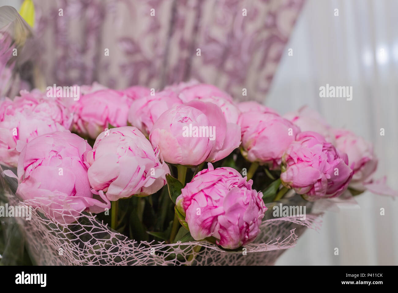 Big bouquet of pink peonies on blurred background copy space big bouquet of pink peonies on blurred background copy spaceautiful flowers bouquet holiday background greeting cardhappy birthday valentines day izmirmasajfo