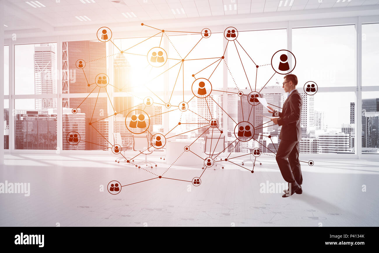 Networking and social communication concept as effective point for modern business - Stock Image