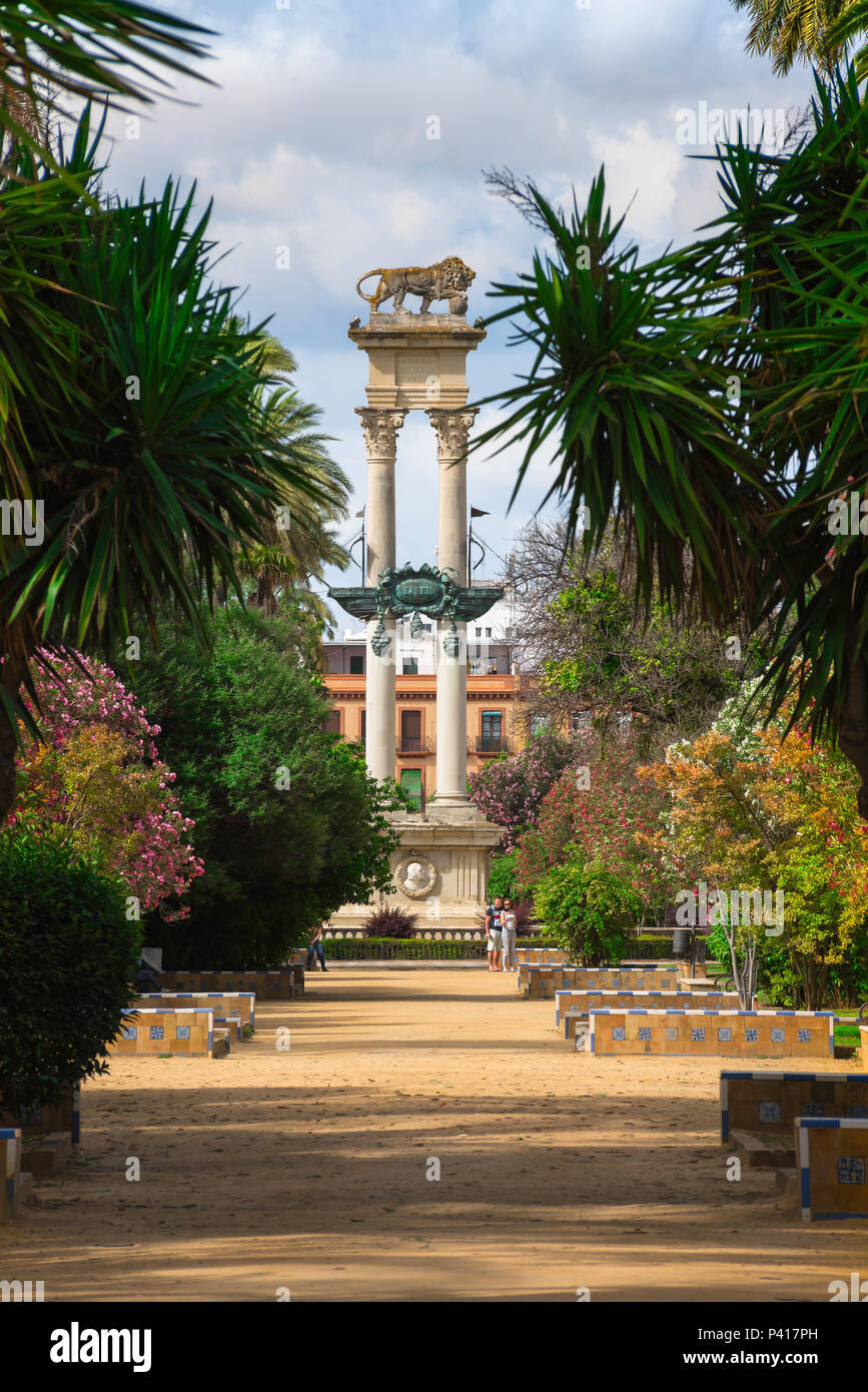 Seville Murillo Gardens, view of the Christopher Columbus Monument (Monumento a Cristobal Colon) in the Jardines de Murillo in Seville (Sevilla) Spain. - Stock Image