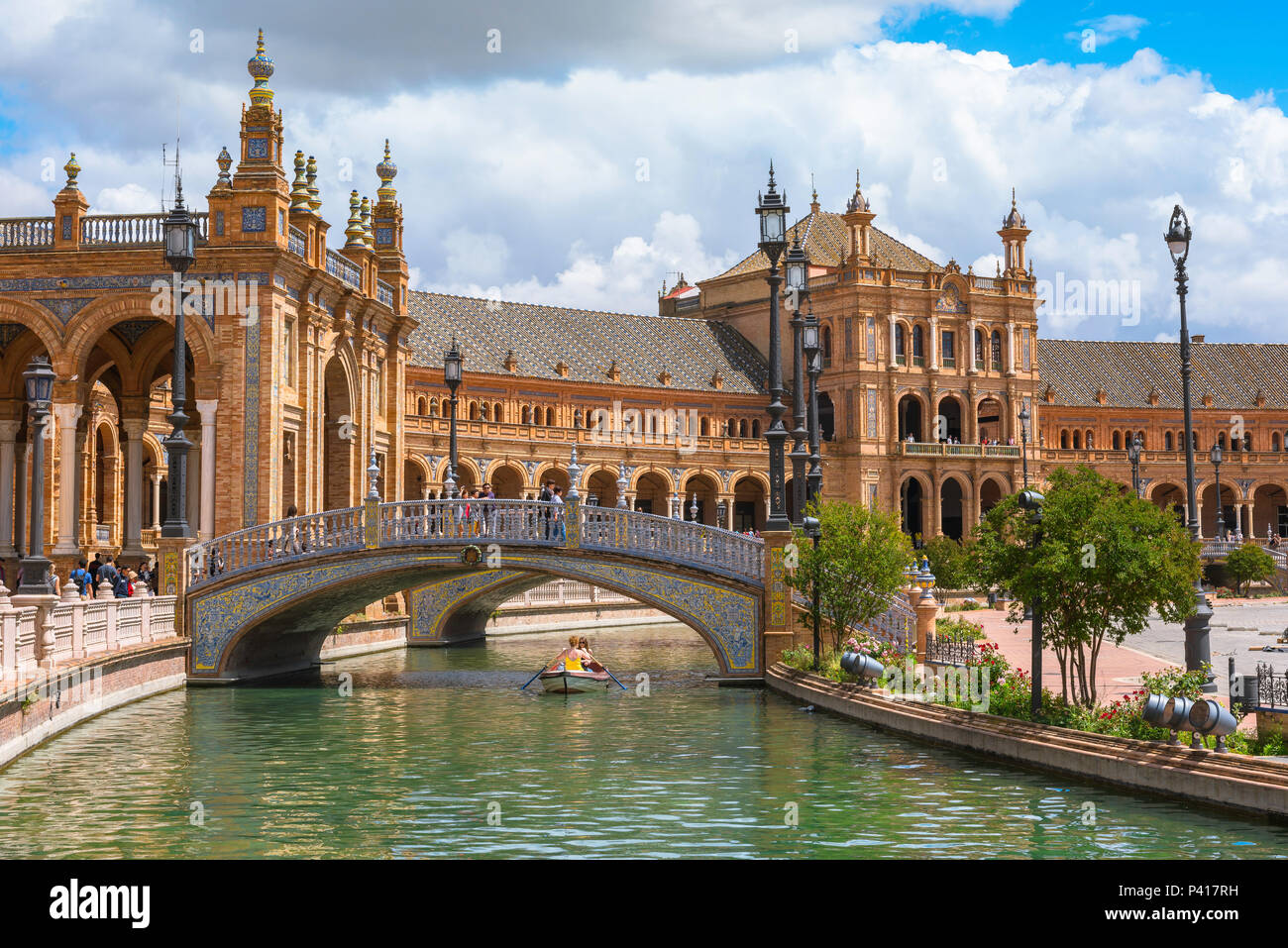 Seville Plaza de Espana, view of the boating lake in the Plaza de Espana in Seville, Andalucia, Spain. - Stock Image