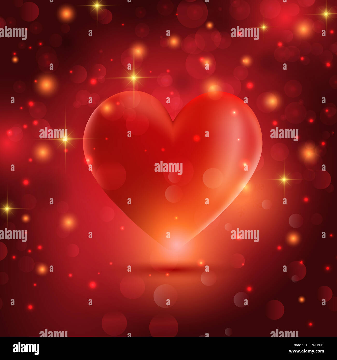 Valentine S Day Background With Heart On Bokeh Lights Background