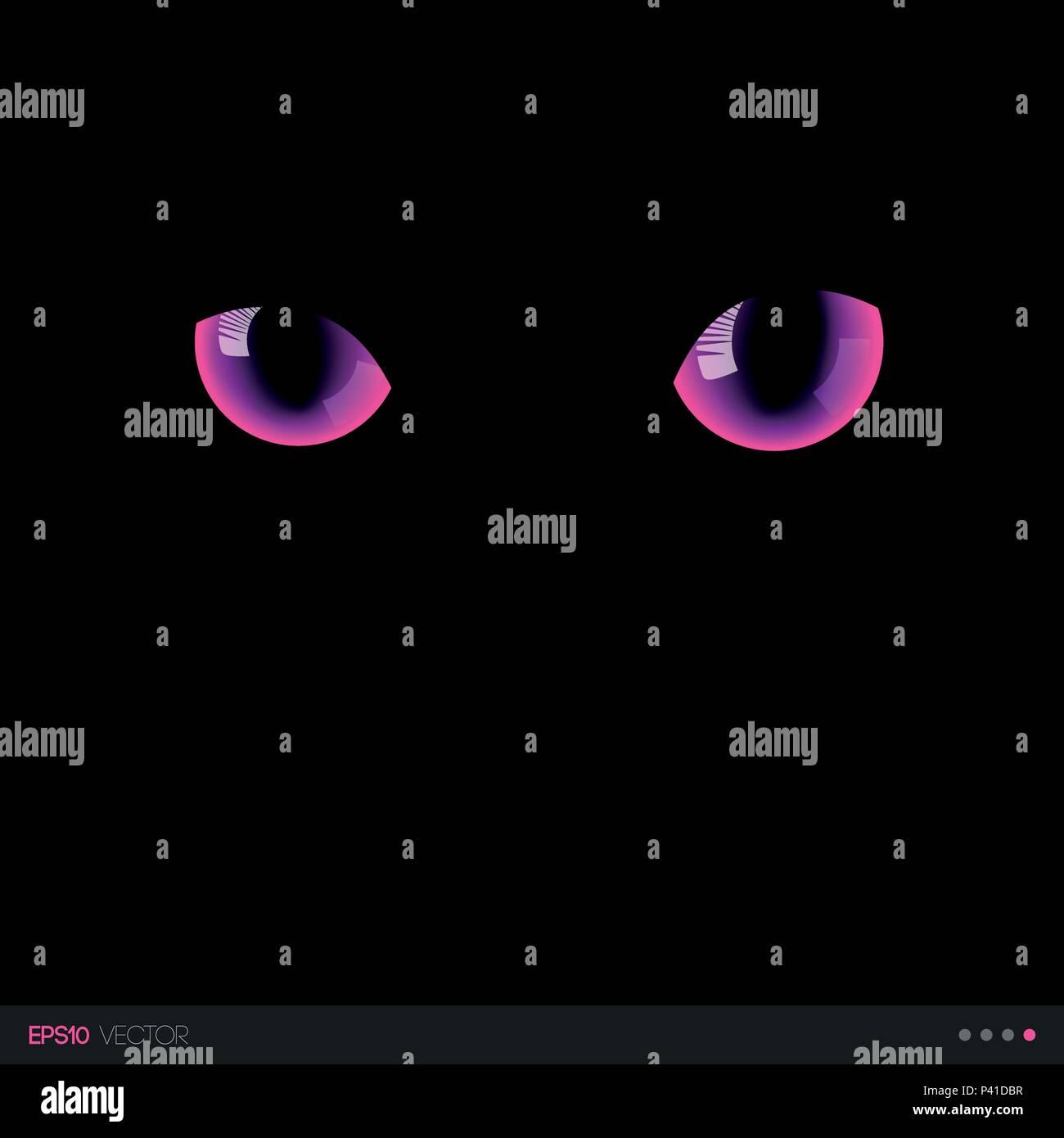 Black cat fantastic pink eyes in darkness. Vector illustration. - Stock Vector