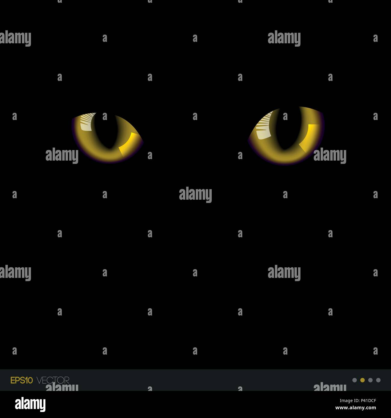 Black cat realistic yellow eyes in darkness. Vector illustration. - Stock Vector