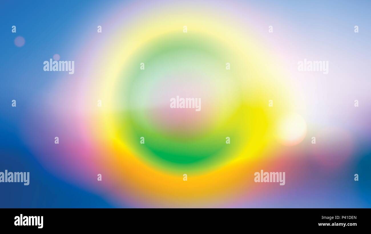 Colorful blurred background with lens effects. Vector illustration. - Stock Image