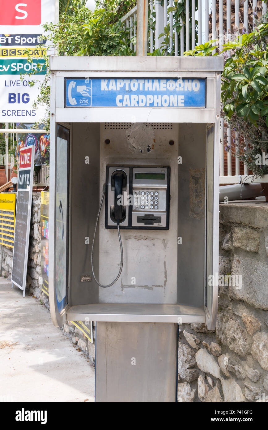 Greek Telephone Kiosk - Stock Image