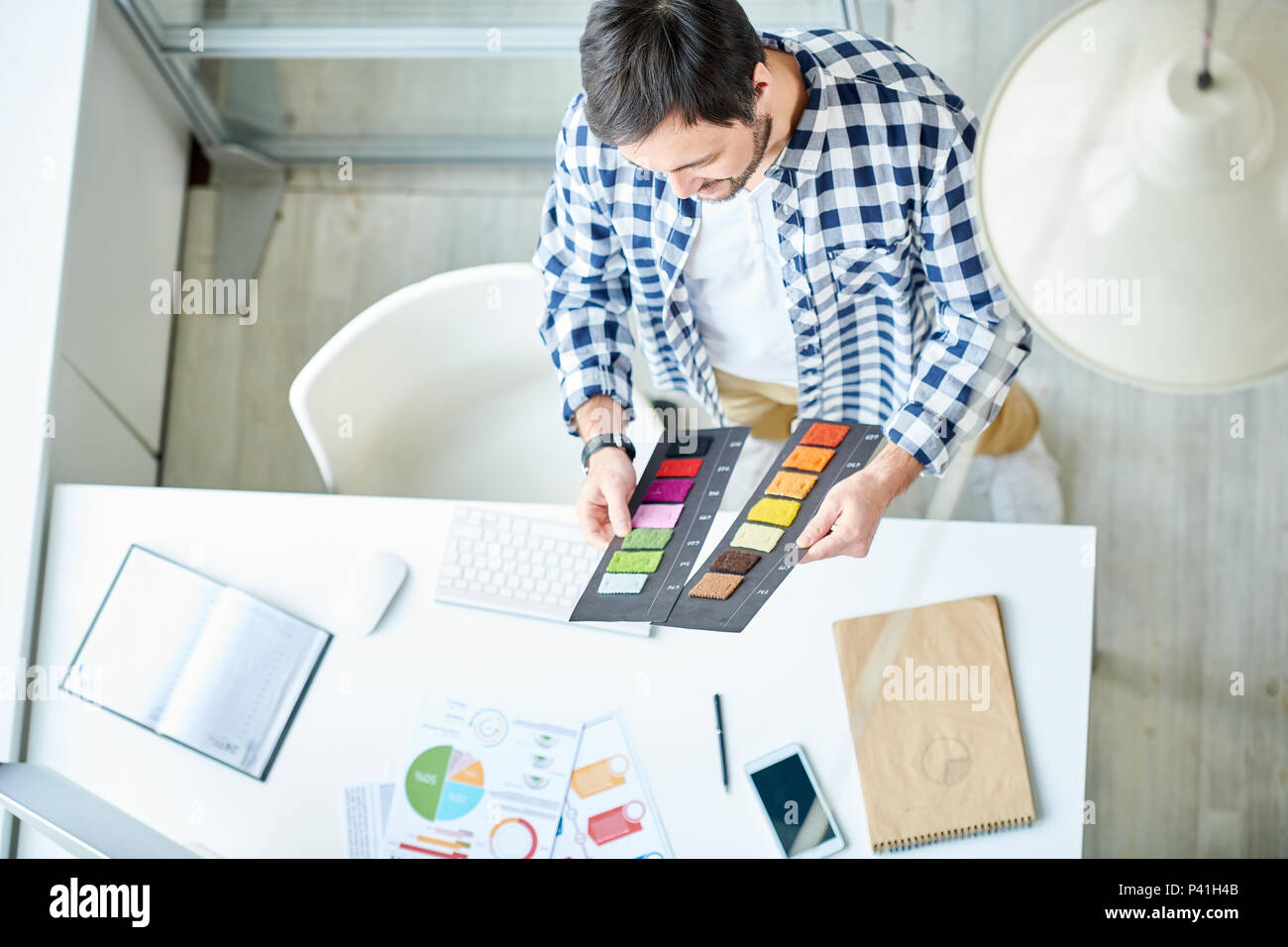 Creative stylist working with palettes - Stock Image