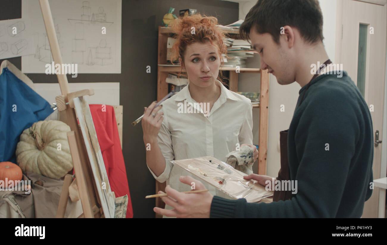 Think, Female art teacher male model can not