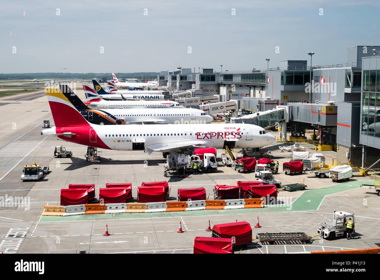 Aircraft at Gatwick Airport Stock Photo
