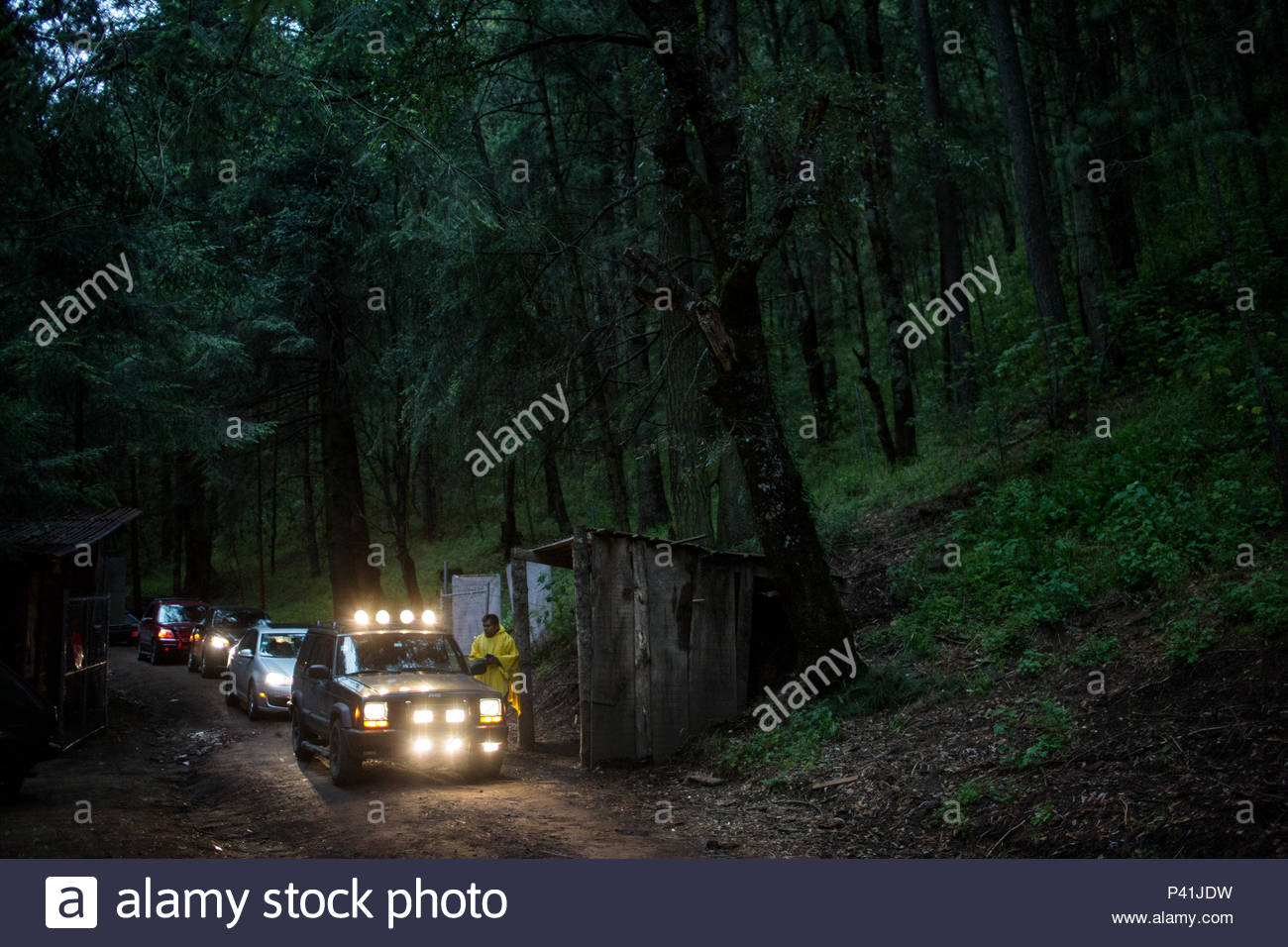 Tourists arrive at the Santa Clara Sanctuary to see fireflies. - Stock Image