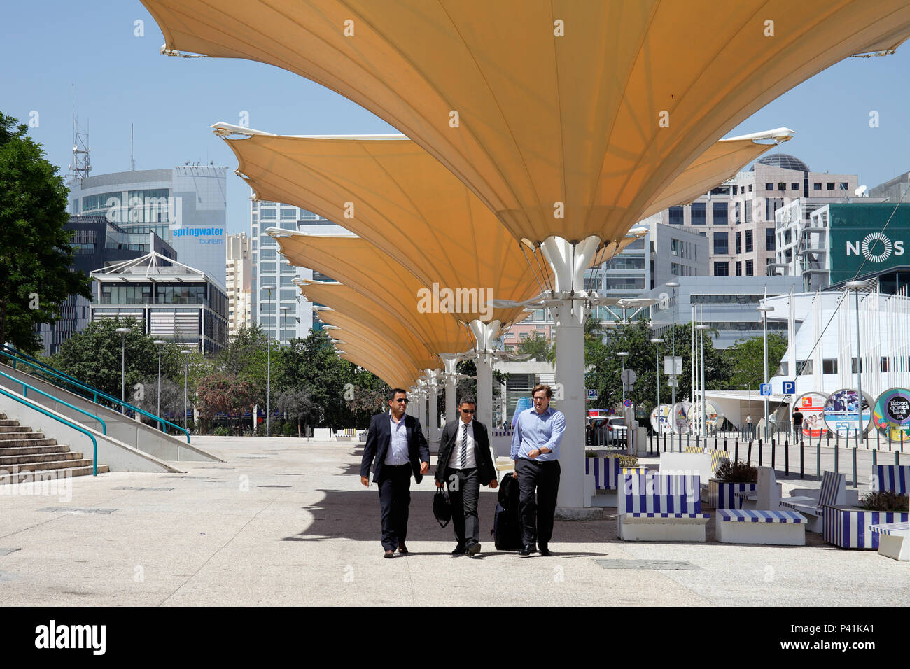 Lisbon, Portugal, business people under sun roofs on the former grounds of the Expo in Lisbon - Stock Image