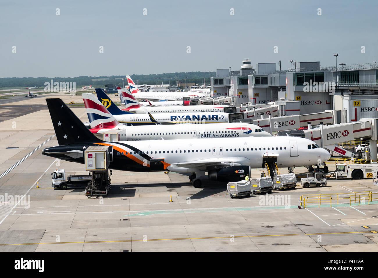 Aircraft at Gatwick Airport - Stock Image