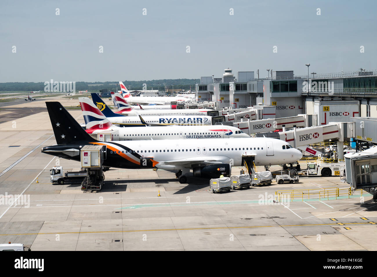 Aircraft at Gatwick Airport - Stock Image