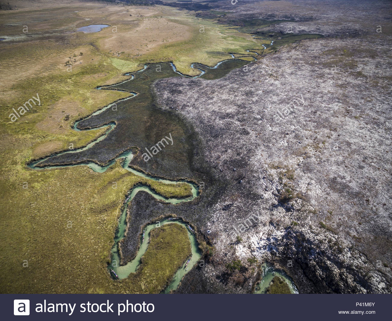 A controlled burn along the Cuito River in the Angolan Highlands. - Stock Image
