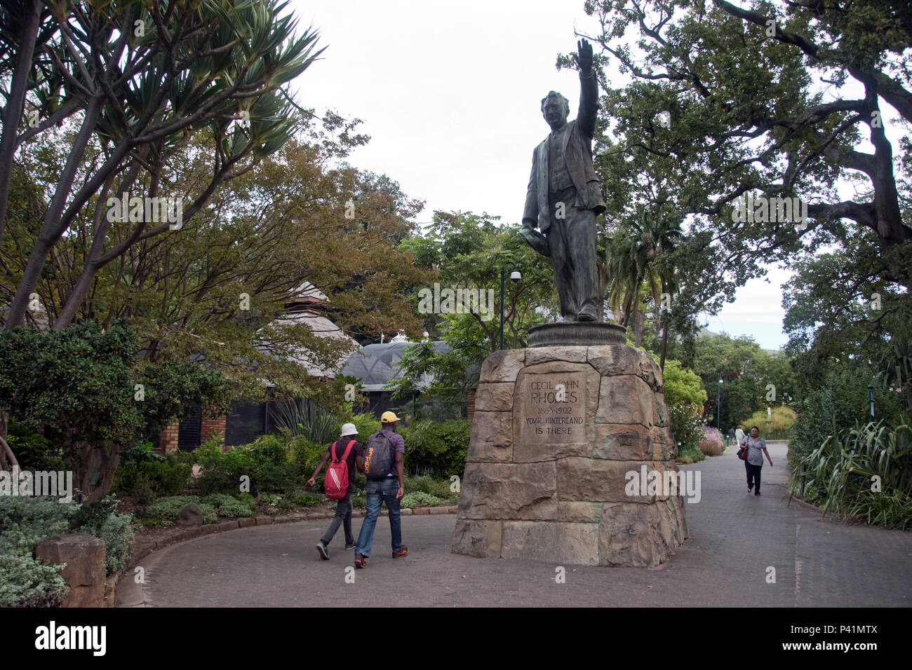 Statue of Cecil Rhodes (c.1908) stands at Company's Garden (Dutch East India Company) in Cape Town, South Africa. - Stock Image