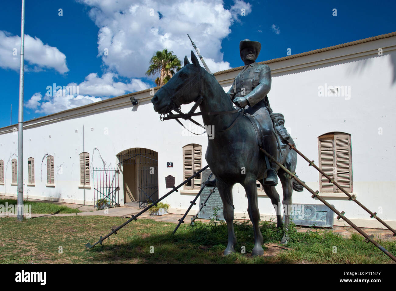 The Reiterdenkmal (Equestrian Monument ) was a monument to the German soldiers and civilians that died during the Herero and Namaqua War of 1904–1907. - Stock Image