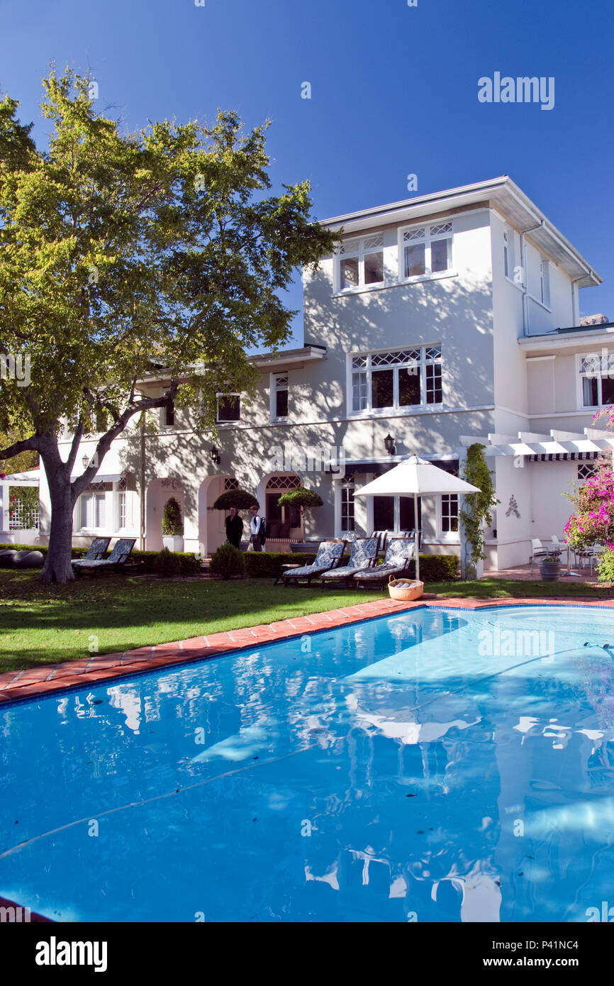 The luxury guest house, in the wine town of Stellenbosch, Western Cape, South Africa. - Stock Image