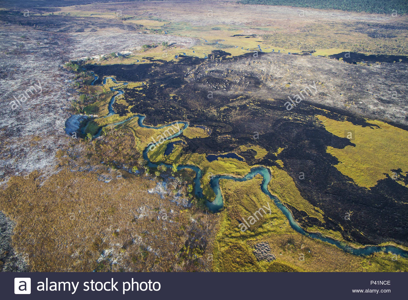 A controlled burn along the winding Cuito River in the Angolan Highlands. - Stock Image