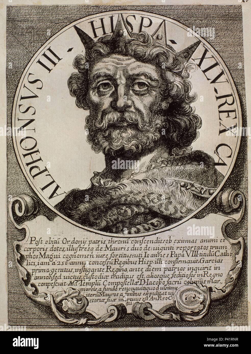 ALFONSO III EL MAGNO (848-910) REY DE ASTURIAS DESDE EL AÑO 866 AL 910 - EFFIGIES ET SERIES REGUM HISPANIAE - GRABADO SIGLO XVII. Author: Arnoldo van Westerhout (1651-1725). Location: BIBLIOTECA NACIONAL-COLECCION, MADRID, SPAIN. - Stock Image