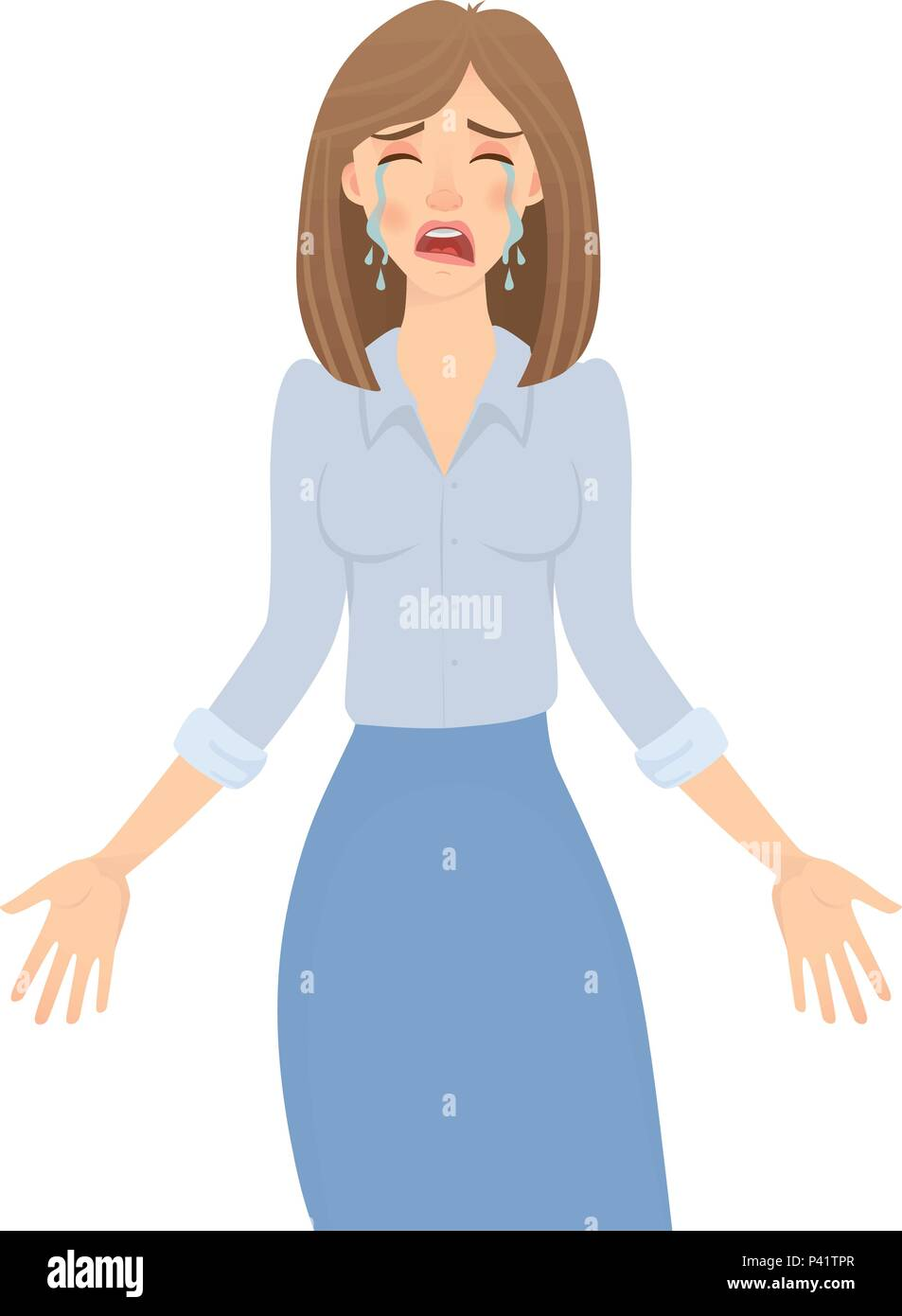 Business woman isolated. Business pose and gesture. Young businesswoman vector illustration. Hands in the side - Stock Vector