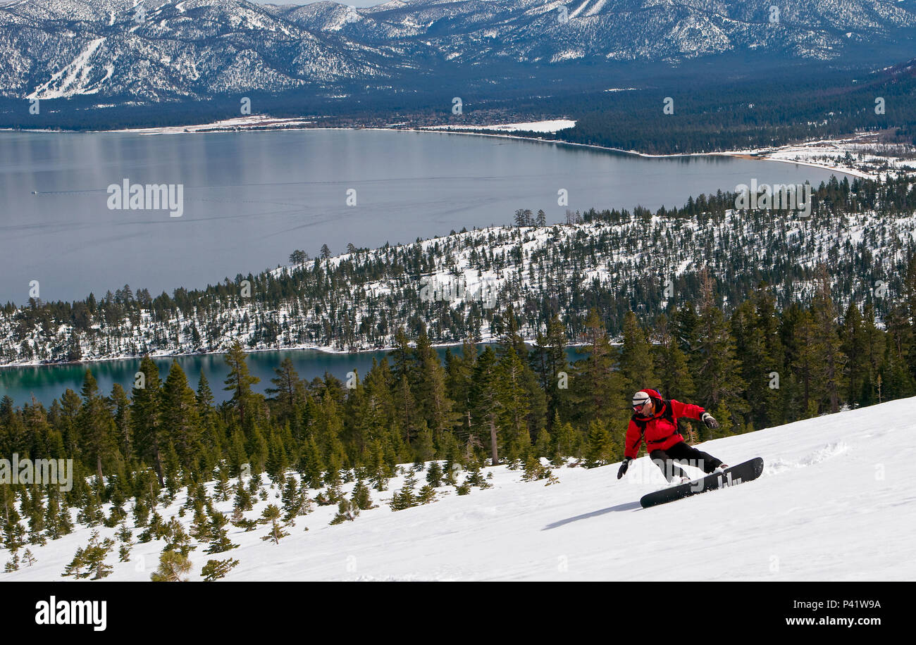 Snowboarder in red jacket descends Jakes Peak with Emerald Bay and Lake Tahoe in the background, California, North America. Stock Photo