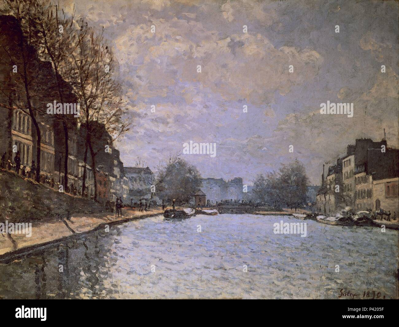 EL CANAL DE SAINT MARTIN. Author: Alfred Sisley (1839-1899). Location: MUSEE D'ORSAY, FRANCE. - Stock Image