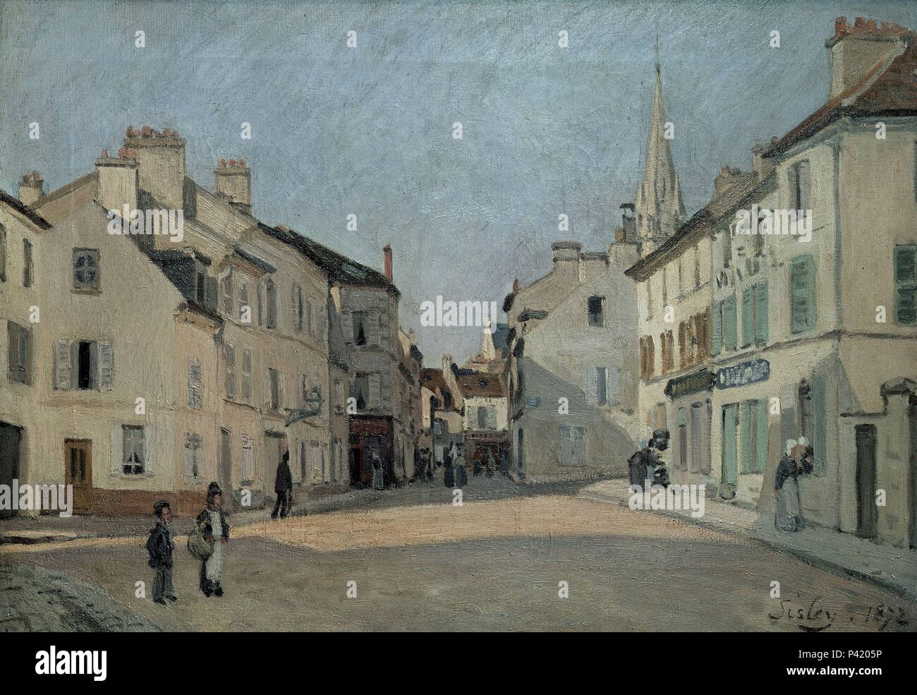 PLAZA DE ARGENTEUIL-1872     46x65. Author: Alfred Sisley (1839-1899). Location: MUSEE D'ORSAY, FRANCE. - Stock Image