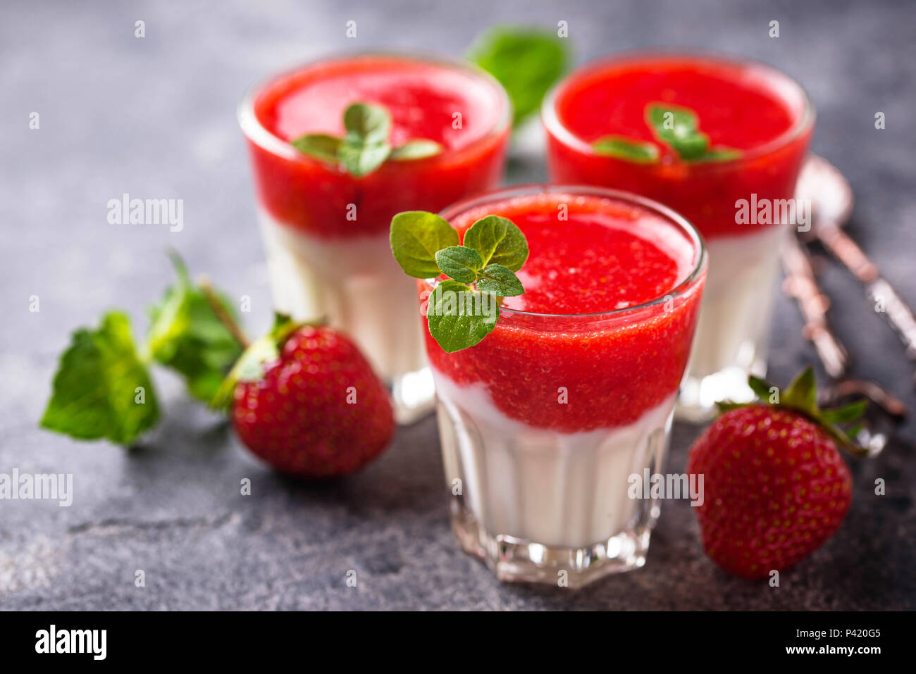 Delicious dessert panna cotta with strawberry - Stock Image