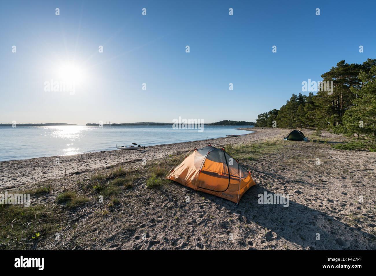 Camping at Stora Fagerö island, Inkoo, Finland, Europe, EU - Stock Image