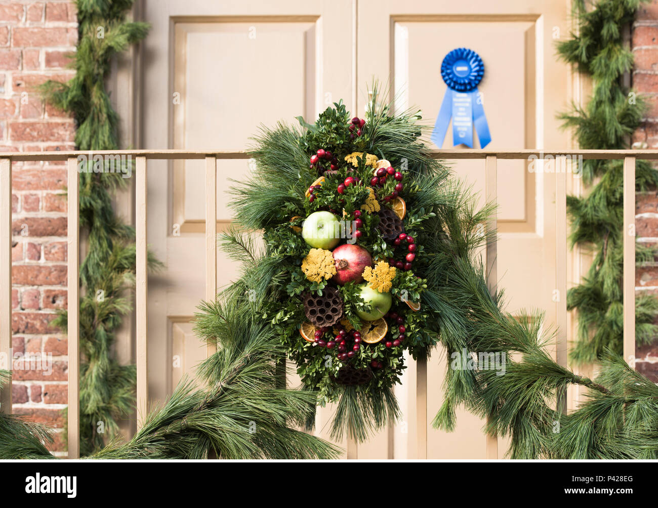 First place, blue ribbon winning Christmas wreath made of lotus pod stems and fresh fruits,  Colonial Williamsburg annual competition display. - Stock Image