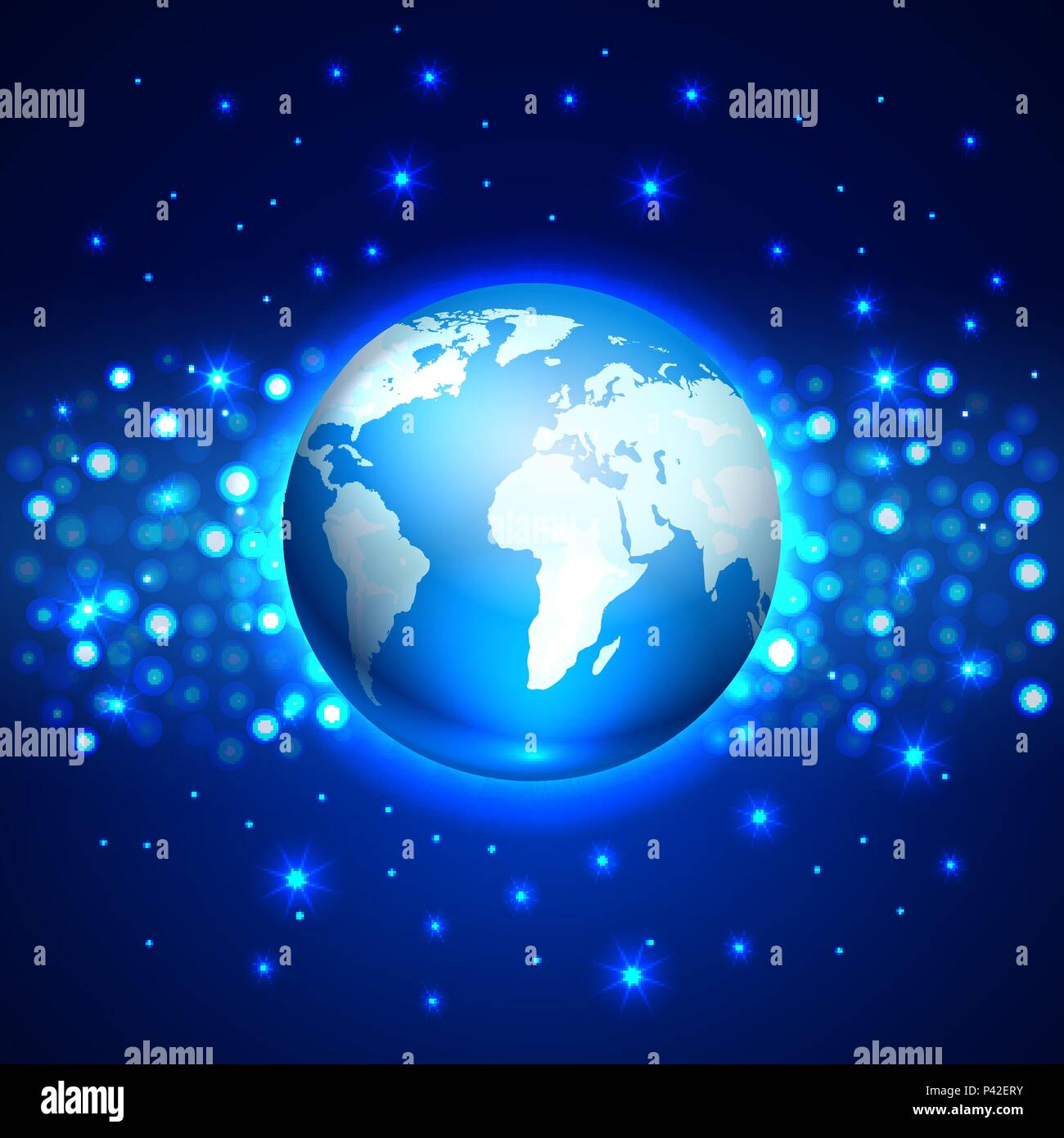 Planet globe Earth on the blue space background, vector illustration - Stock Vector