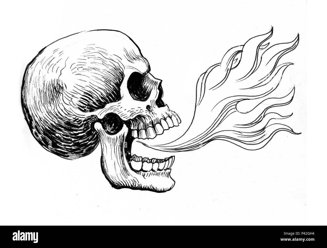 Human Skull And Fire Ink Black White Drawing