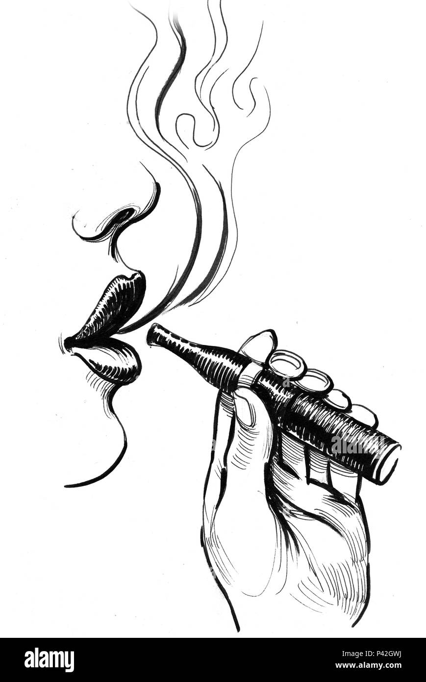 Lips and holding a vaporizer. Ink black and white illustration - Stock Image