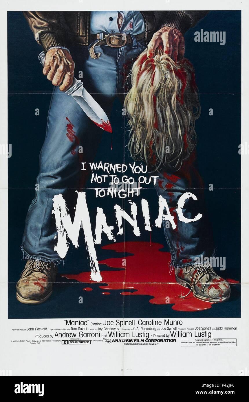 Original Film Title: MANIAC.  English Title: MANIAC.  Film Director: WILLIAM LUSTIG.  Year: 1980. Credit: MAGNUM MOTION PICTURES / Album - Stock Image